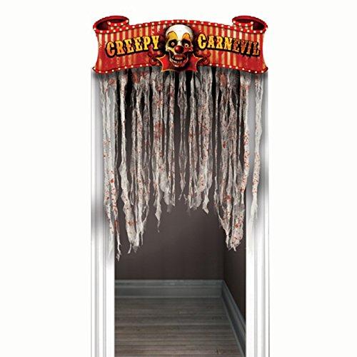 PARTY DISCOUNT NEU Tür-Deko Creepy Carnevil, 96,5x137 - Carnevil Kostüm