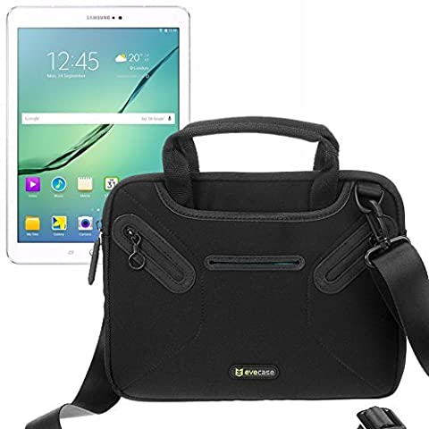 Evecase 9.7 -10.1 inch Universal Tablet Messenger Bag, Neoprene Tote Shoulder Bag w/ Handle & Accessory Pocket / Ultra Portable Computer Briefcase Carrying Sleeve Pouch Cover for Samsung Galaxy Tab S2 / Tab A 9.7 Inch -