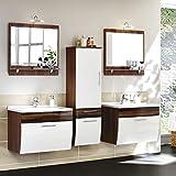 Badmöbel Set in Hochglanz weiß, Walnuss ● Badezimmer Komplettset: 2x Waschtisch mit Unterschrank ● 2x Spiegel mit Halogen-Beleuchtung ● 1x Hochschrank