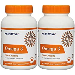 Healthviva Omega 3 Fish oil 1000mg with 180mg EPA and 120mg DHA, with essential fatty acids, for heart, Joint and Brain health, 60 softgels each, pack of 2