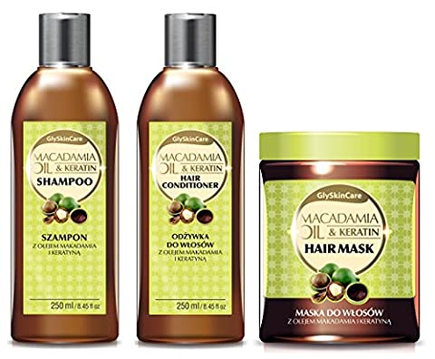 glyskincare Macadamia Bio Öl & Keratin Hair Conditioner & Shampoo & Haar Maske Behandlung Set