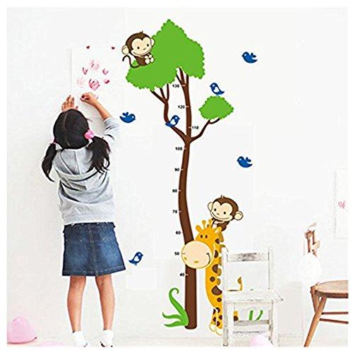 Rainbow Fox Affe Baum Wachstum Diagramm Wandaufkleber zum Mauer Dekor von Kinder Zimmer (Baum-höhe-diagramm)