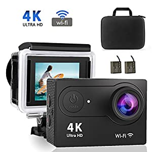 Caméra Sport 4K, Volador WiFi Caméra d'Action 20MP Ultra HD, Caméra d'Action Étanche 30M, 170 °Grand Angle/Ecran LCD 2.0''/Deux Batteries 1050mAh/2.4G Télécommande/ Accessoires Multiples