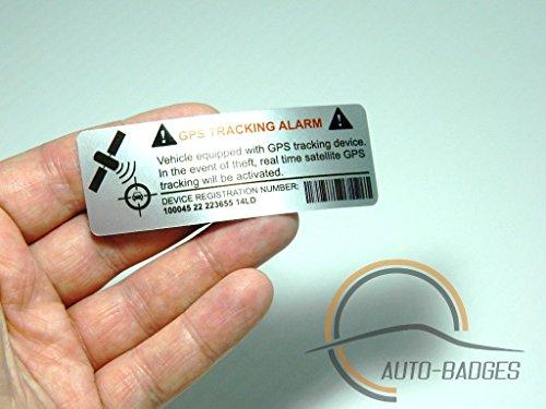 2 x Kfz-Warn-Aufkleber, Vinyl, selbstklebend, sehr gute Haftung, GPS-Nachverfolgung