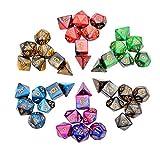 iFergoo 42 Stück Polyedrische Würfel Doppel-Farben Polyedrischen Spielwürfel für RPG Dungeons und Dragons Pathfinder