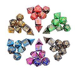 Idea Regalo - iFergoo 42 Pezzi Dadi Poliedrici da Gioco Doppio-Colore per RPG Dungeons e Dragons Pathfinder, 6 Set di DND MTG RPG d20, d12, 2 d10 (00-90 e 0-9), d8, d6 e d4
