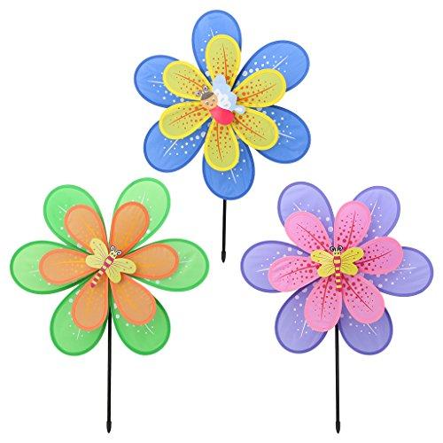 Moonbrid Doppelschicht Blume Windmühle Bunte Wind Spinner Hof Garten Dekor Kinder Spielzeug | Garten > Dekoration | Moonbrid