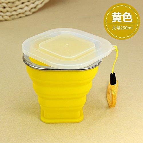 Tragbare mini Falten cup Silikon Teleskop Becher mit Deckel outdoor Ausflüge Wasser waschen Cup 210/230 ml, 230 ml, gelb (Bier Waschen Pong)