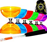 Diabolo Set Cyclone QUARTZ II (6 couleurs) - PRO Triple Roulement Diabolo + Diablo Baguettes en Aluminum et Ficelle + Flames N Games Sac de Transport. (Orange)