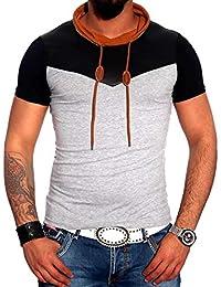 a65f11a0ee1b0 Subliminal Mode - Tee Shirt Homme col Chale avec Cordon de Serrage uni  SB6698