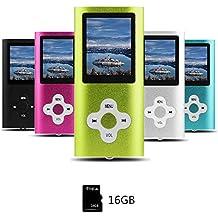 Btopllc Lettore MP3 , lettore MP4, lettore musicale digitale Scheda di memoria interna da 16 GB, lettore musicale MP3 / MP4 portatile e compatto, lettore multimediale, lettore video, video, Ebook-verd