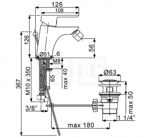 DIBL geo Einhebel-Bidetbatterie mit Ablaufgarnitur