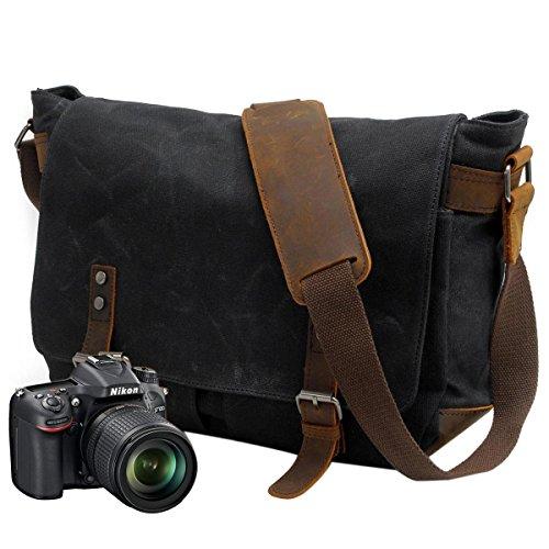 Neuleben Kameratasche wasserdichtes und abnehmbares Kamerafach für DLSR Umhängetasche Laptoptasche für 14´´ Vintage Damen Herren (Schwarz + Kamerafach)