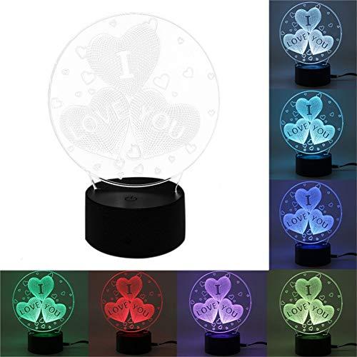 SUPER HOME 3D Illusions Lampe,7 Farben ändern Beleuchtung Berühren USB Ladung Tisch Schreibtisch Schlafzimmer Dekoration, Ideen für Kinder Geburtstag,Valentinstag(I Love You) B