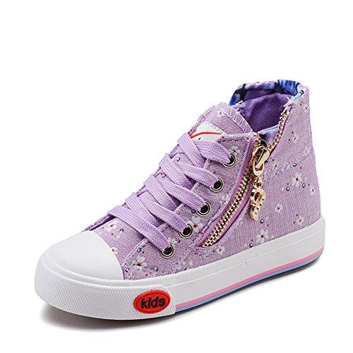 Mädchen Sneakers Reißverschluss Schnürer Blumenmuster Plateau Aufzug Frühling Pastryschuhe Violett