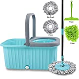 Smile mom Spin Mop with Bucket Set; Easy Wheels for Best 360 Degree Floor Cleaning; 2 Refill Head and Microfiber Glove + Kitchen Wiper (Sky Blue)