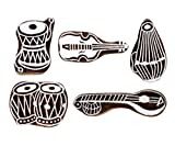 #3: Hashcart Printing Stamps Musical Instruments Wooden Blocks (Set of 5) Hand-Carved for Saree Border Making Pottery Crafts Textile Printing