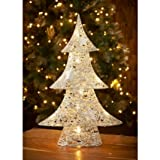 Brand New Light Up Christmas Rattan Glitter Tree - Silver