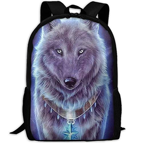 99b677062457 best& Casual Cool Wolf Laptop Backpack School Bag Shoulder Bag Travel  Daypack Handbag