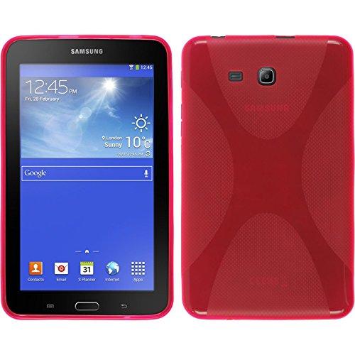 PhoneNatic Case kompatibel mit Samsung Galaxy Tab 3 Lite 7.0 - pink Silikon Hülle X-Style + 2 Schutzfolien