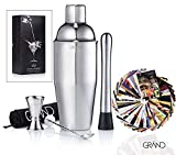 Cocktail Shaker von Grand – 6er Set Cocktail Set Zubehör Inklusive 50 Cocktail Rezeptkarten