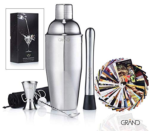 Cocktailset von GRAND – Cocktail Mixer Geschenk Set | Ideal für Zuhause oder die Bar | 6er Set Inklusive 50 Cocktail Rezeptkarten. Premium Barkeeper Cocktailshaker Set.