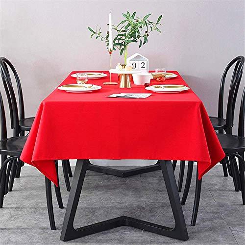 SONGHJ Einfarbige rote Tischdecke aus Leinenbaumwolle Wasserdichtes, kohlensäurebeständiges und ölbeständiges Tischtuch Fashion Dinner Room Tuch Plain Table Cover A 70 × 70 cm (Damast-volant Rote)