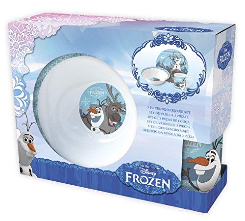 Frozen 3 teiliges Porzellan Frühstück-Set Teller Becher Müslischale im praktischen Geschenkkarton Design Olaf & Sven