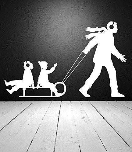 Dad Ziehen Kinder auf Schlitten Winter Snow Vinyl Wand Aufkleber Aufkleber (Ziehen Schlitten Für Kinder)