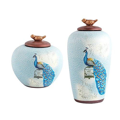 XWCPDM Dekoration Hauptskulptur Wohnzimmer Neue Chinesische Dekorative Keramik Pfau Spind Veranda TV Schrank Wein Dekoration (Color : 2 PCS) -