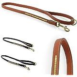Design-Line von Pear Tannery: Hundeleine aus weichem Vollrindleder, versehen mit einer Messingverzierung, 1,10m, hellbraun