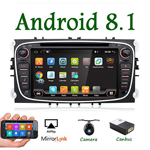 Android 7.1 17,8CM Quad Core Doppia Din Car Stereo Radio Navigation adatto Per Ford Focus Mondeo S-Max Focus Galaxy C-MAX Support Mirror Link 4G WiFi OBD2 DAB DVR USB SWC colore Nero Gratuita Cam