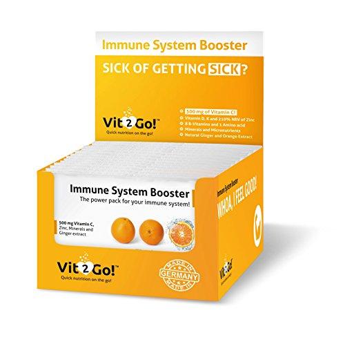 Vit2Go! Immune System Booster | 30 Sachets | Vitamin-Mineralien-Komplex für Unterwegs | Nahrungsergänzungsmittel für starke Abwehrkräfte mit 300 mg Vitamin C, Zink, 8 B-Vitaminen, Vitamin D, K und mehr | MADE IN GERMANY! (Jetzt Eisen-komplex)
