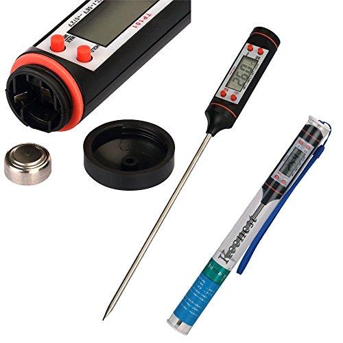 Keenest Digital LCD Haushaltsthermometer küchen Einstichthermometer für Kochen Küche Lebensmittel Fleisch BBQ Jam Wein Steak Candy (Schwarz)
