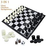 """Fixget 3 en 1 ajedrez Set-ajedrez de madera, damas, juego de ajedrez doble occidental con portátiles plegables de almacenamiento de viaje de ajedrez del tablero de juego, 12,5 """"X 12,5"""""""