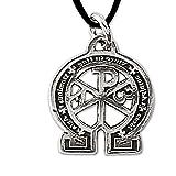 Anhänger Alpha & Omega Amulett 925er Silber Schmuck - Weisheit - mit Lederband Schmucksäckchen und Karte 634