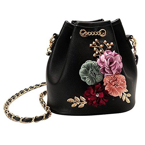 Kaktus 3D Blumen Design Leder Umhängetasche Beuteltasche Tasche, Handtasche mit Kordelzug, Ledertasche mit Schulterriemen Weiß Schwarz Beige, Blumen Schwarz,  ()