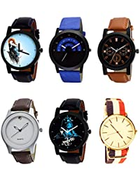 NIKOLA Modern 3D Design Mahadev Black Blue And Brown Color 6 Watch Combo (B22-B47-B31-B61-B23-B50) For Boys And...