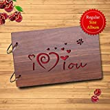 Sehaz Artworks I Love You Wooden Scrapbook Photo Album for Memorable Gift on Boyfriend Girlfriend Husband Wife Spouse Birthdays, Valentines Day, Anniversary, Monthsary for Couples
