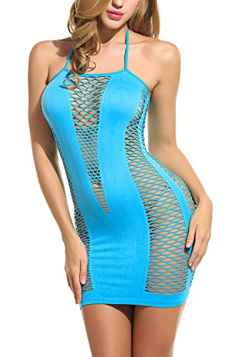 Avidlove Lingerie Dessous Frauen Mesh Sexy Hollow Out Negligee Babydoll Wäsche Netzs Flexibel Free Size Mini Silm Kleid, Blau, Einheitsgröße