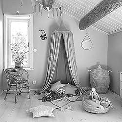 SevenD Dosel Para Cama Infantil Algodón Cúpula, Princesa de Dosel de la Cama, Mosquitera Para Cuna Niña, Cambio de Imagen Chicas Dormitorio Altura 240cm (Gris)