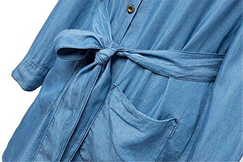 QIYUN.Z Frauen Claasic Blaue Jeans Shirt Mittleren Langen Kleid Tie-Up Slim Fit Langen aermeln Blau