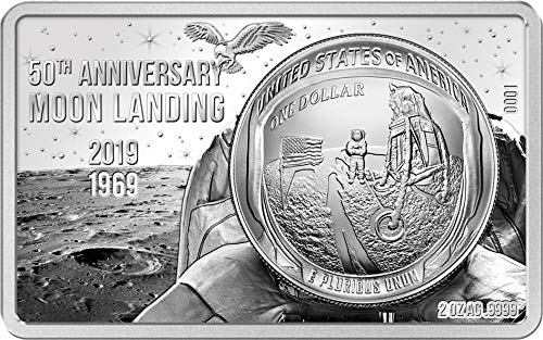 Power Coin Moon Landing 50 Jahrestag 2 Oz Silber Münze Set 1$ USA 2019 -