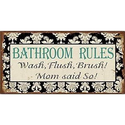 Stanze Da Bagno - Bathroom Rules, Wash, Flush, Brush! Mom Said So, Retro Style Magnet (10 x 5cm)