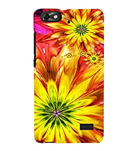 Bright Yellow Pattern 3D Hard Polycarbonate Designer Back Case Cover for Huawei Honor 4C :: Huawei G Play Mini
