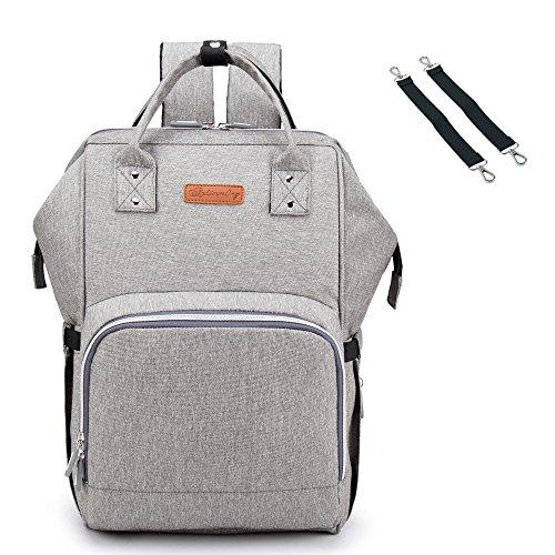 BISON DENIM Verbesserte Version Wickeltasche Große Fähigkeit Wasserdicht Wickeltaschen Diaper Bag Mode Rucksäcke Baby Backpack (Grau)