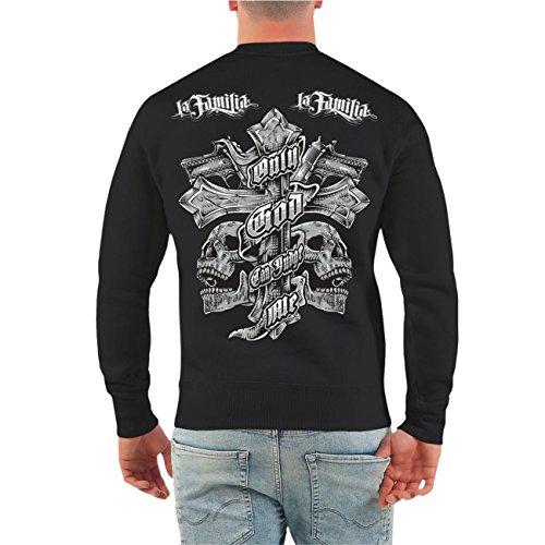 Männer und Herren Pullover La Familia Judge Me (mit Rückendruck) Größe S - 10XL Schwarz