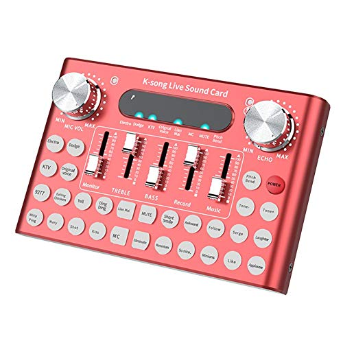 Live Broadcast Studio Audio Mixer Soundkarte, Elektrisch/Diakritisch 18 Soundeffekte Live Bluetooth Mikrofon-Mixer, Mit Intelligenten Sprachaktivierten LED-Lichtern, Kratzfest/Wasserdichtem Fleck