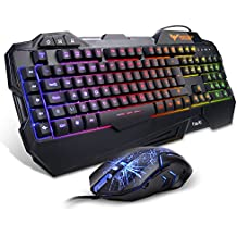 Gaming Keyboard {UK Layout}, HAVIT Rainbow LED Backlit Wired Keyboard and Mouse Combo Set, Black