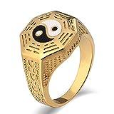 Aidsaer Ring Gold Vintage Ring Männer Weissgold Yin Yang Totem Hoch Poliert Breite 15 mm Ringgröße 57 (18.1) Party,Mein Herz Schlägt Deinen Takt, Ring Für Sohn